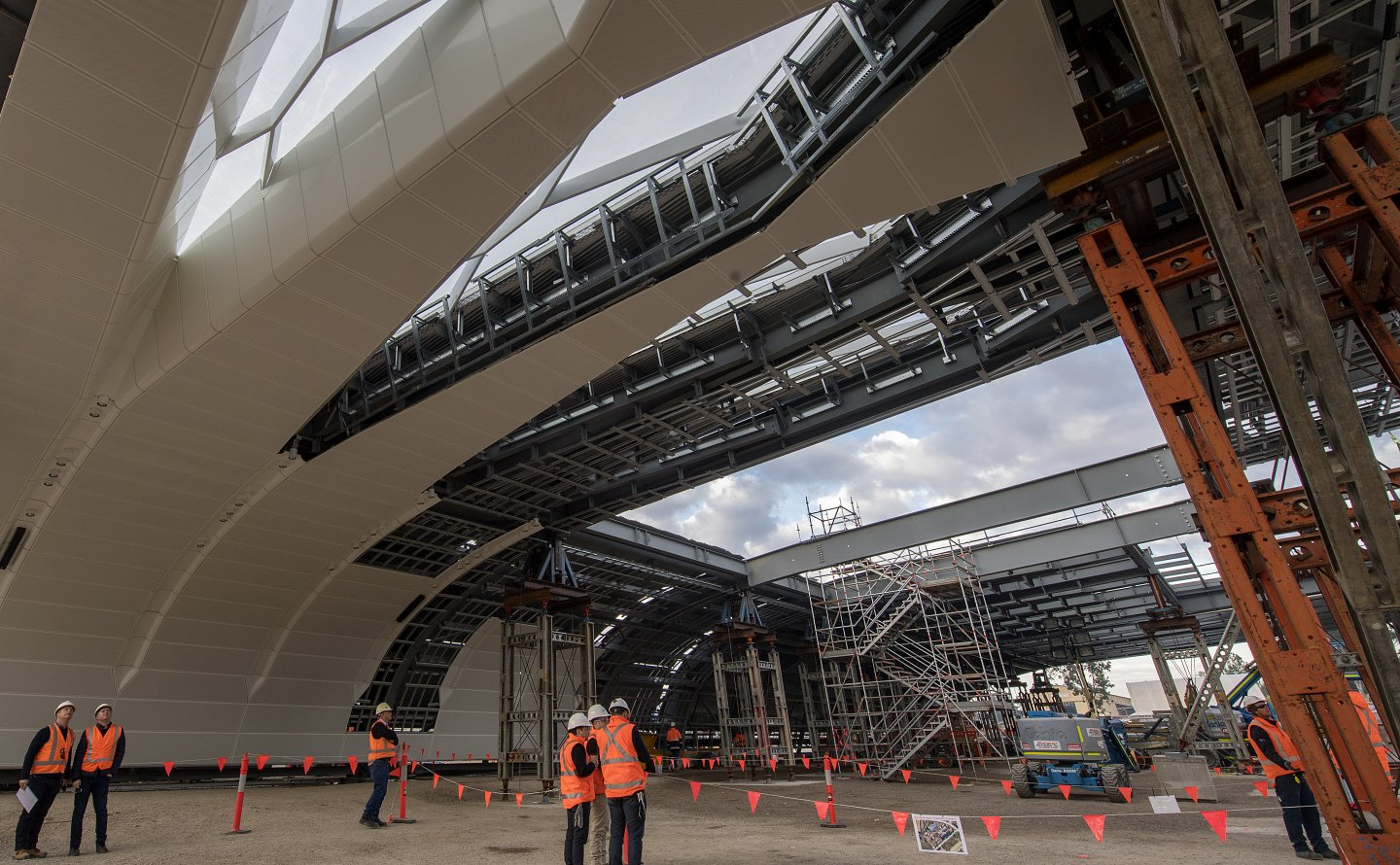The new roof for Sydney's Central Station under construction