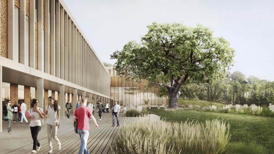 John McAslan + Partners. Lancaster University. Health Innovation Hub. Artist's Impression. Entrance Hall.