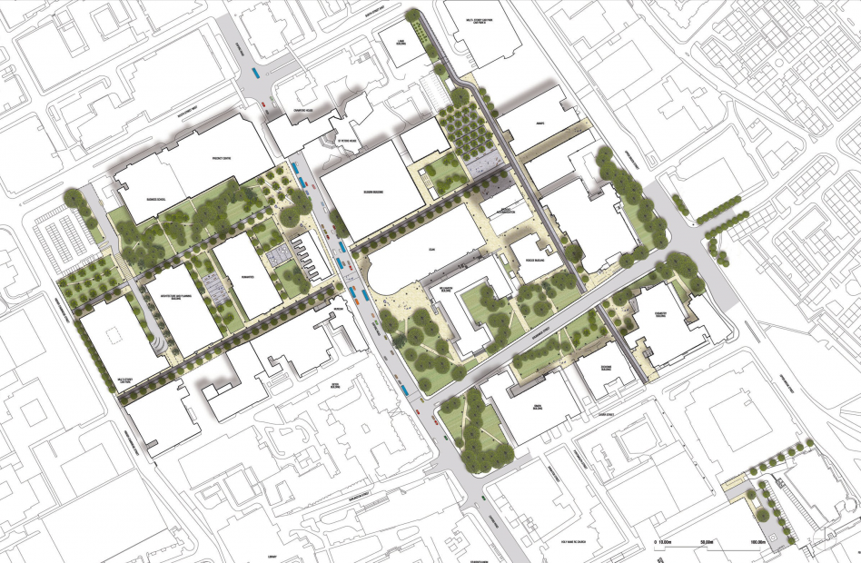 John McAslan + Partners. University of Manchester Public Realm Masterplan. Plan.