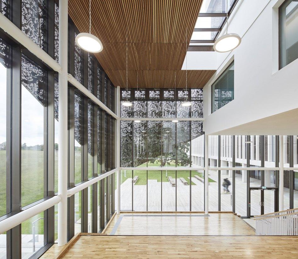 John McAslan + Partners. Lancaster University. Health Innovation Hub. Artist's Impression. Circulation Space.