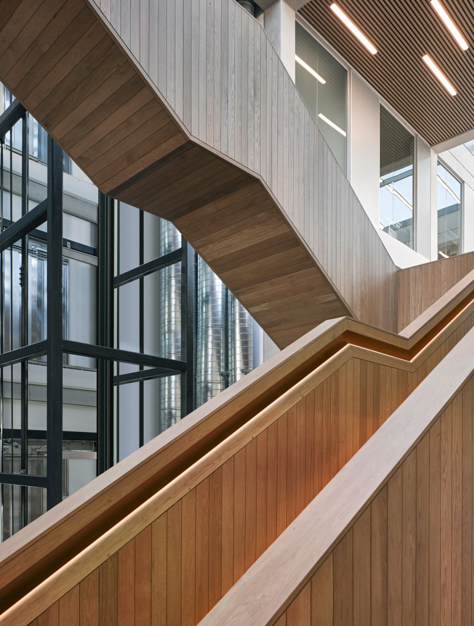John McAslan + Partners. Lancaster University. Engineering Building. Entrance Atrium. Detail.