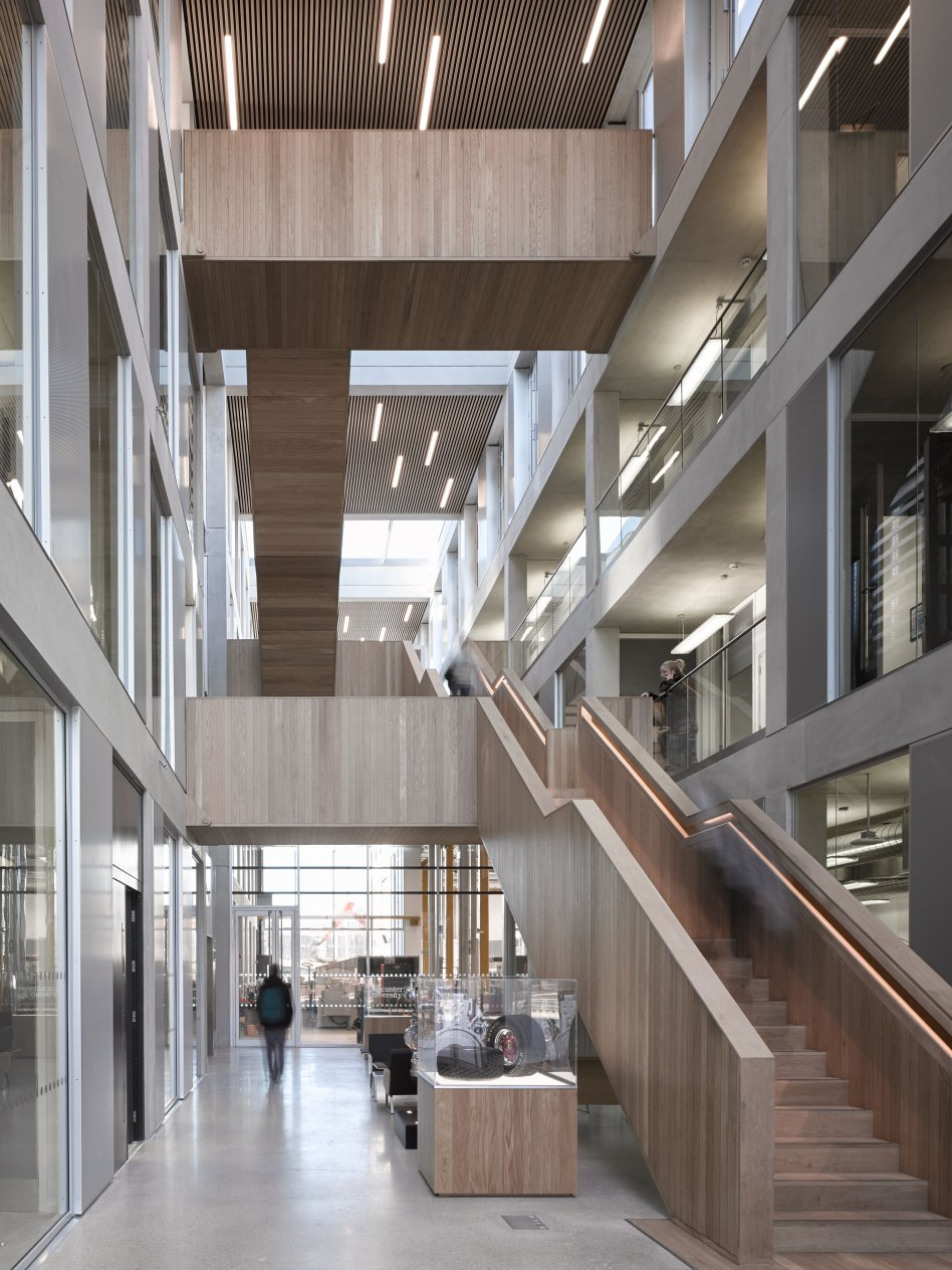 John McAslan + Partners. Lancaster University. Engineering Building. Entrance Atrium.