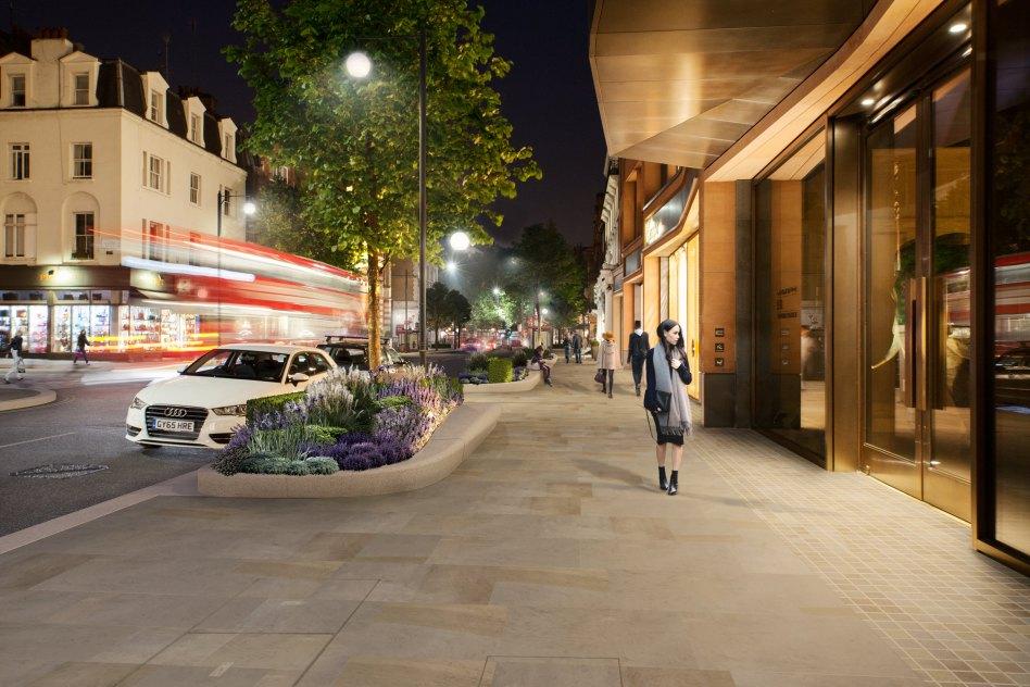 John McAslan + Partners. Sloane Street. View of Street.