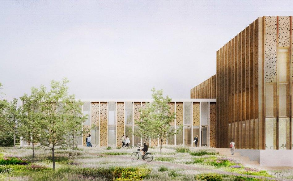 John McAslan + Partners. Lancaster University. Health Innovation Hub. Artist's Impression. Exterior.