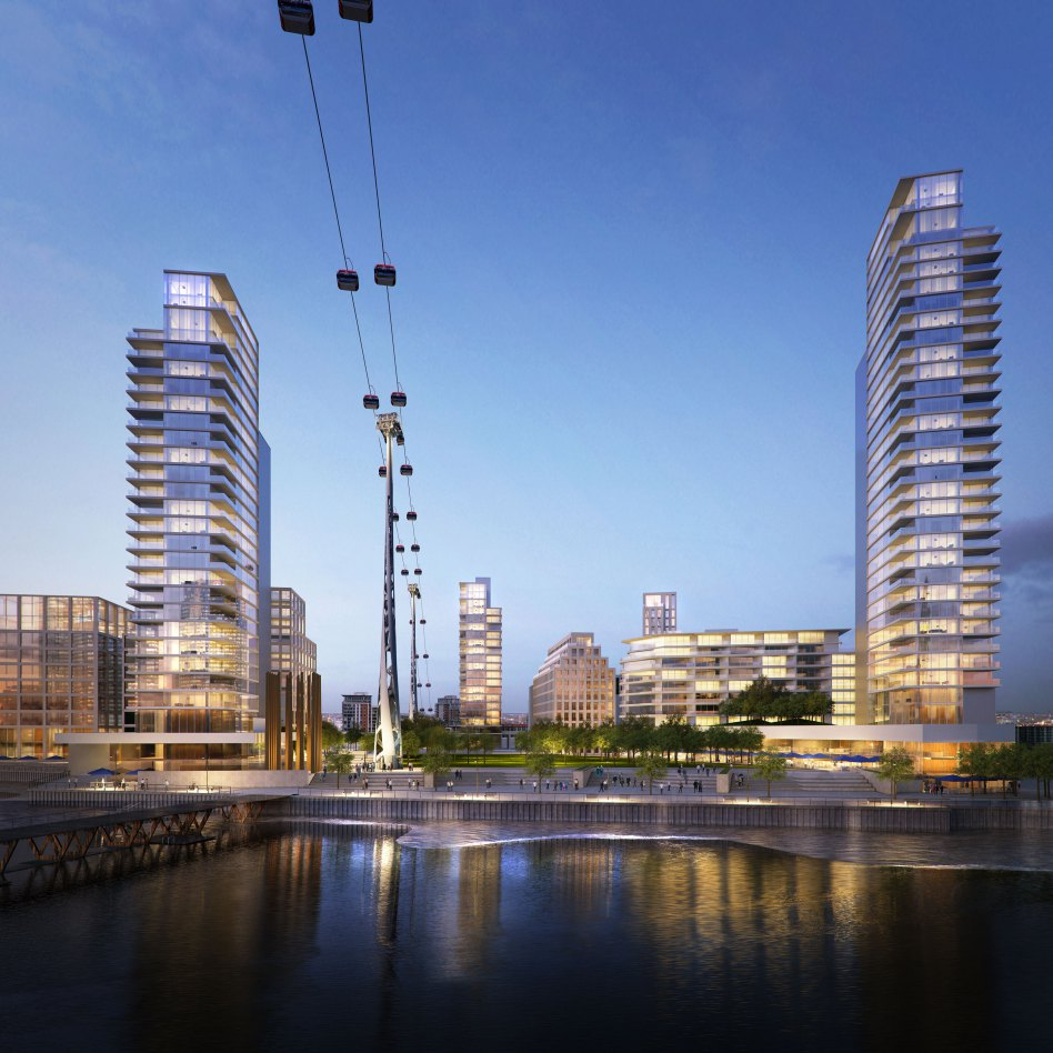 John McAslan + Partners. Carlsberg Tetley Thames Side West. Dusk View.
