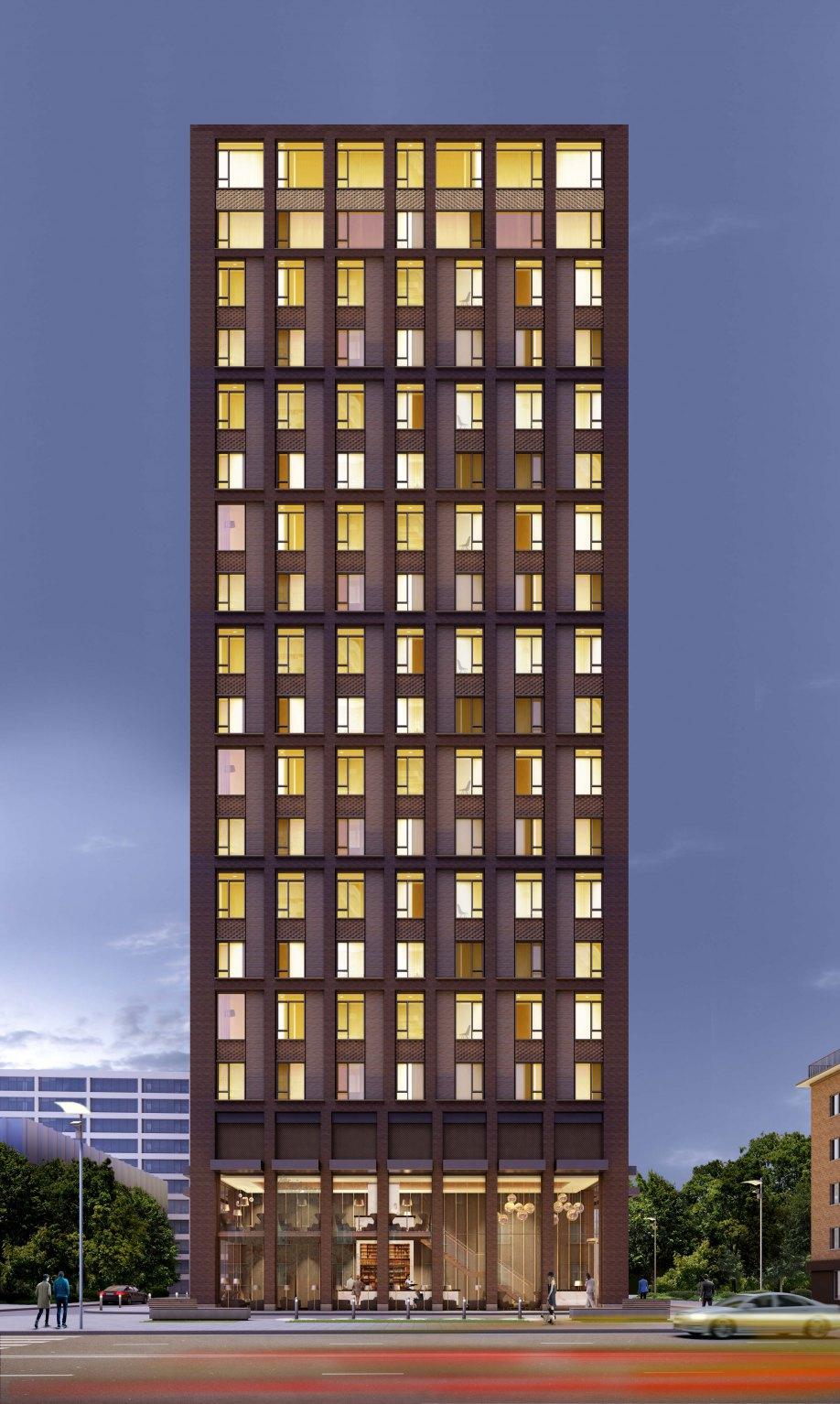 John McAslan + Partners. Presnensky Val Apartments. Facade.